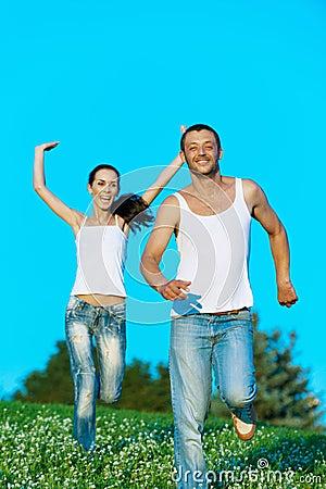 Young couple run