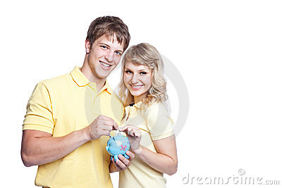 Young couple saving money