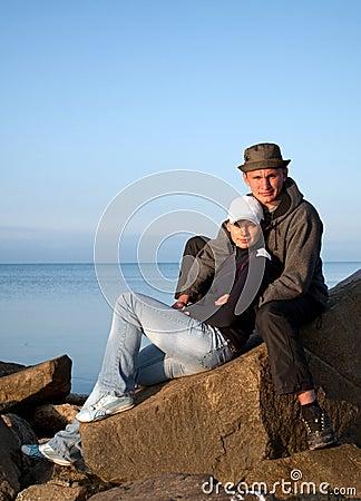 Young couple on seashore