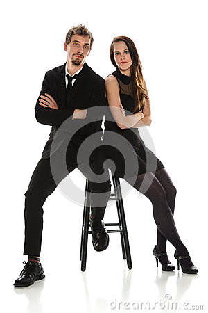 Young couple Seating