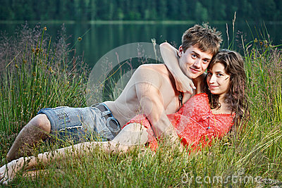 Young couple on the shore