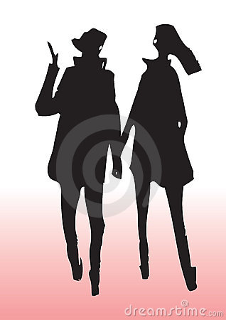 Young couple silhouette