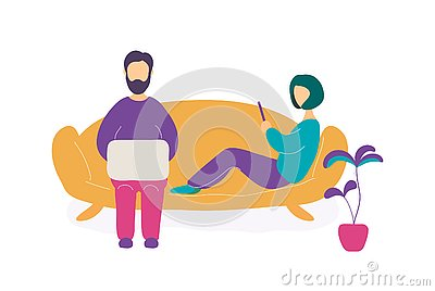 Couple sitting on sofa with laptop and smartphone Vector Illustration