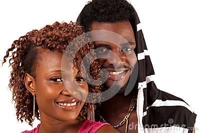 Young couple smiling.