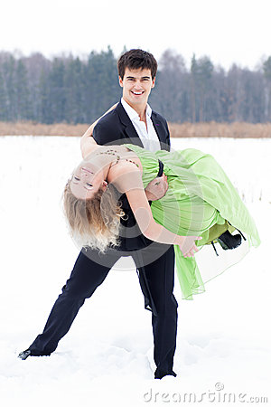 Young couple on the snow