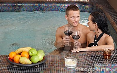 Young couple in spa