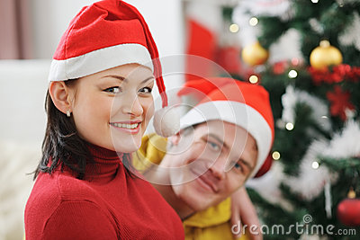 Young couple spending Christmas time together