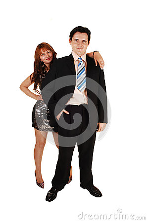 Young couple standing.
