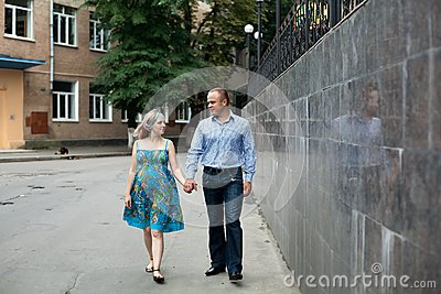 Young couple in the street
