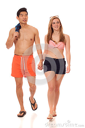 Young Couple in Swimwear