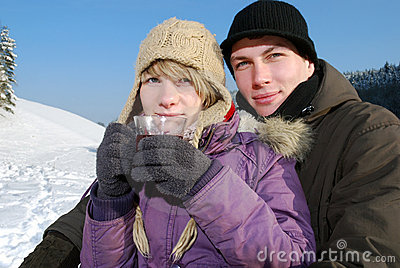 Young couple with tea