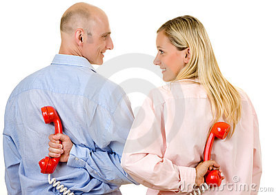 Young couple with telephones
