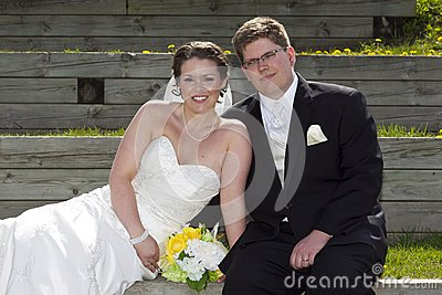 Young couple on their wedding day