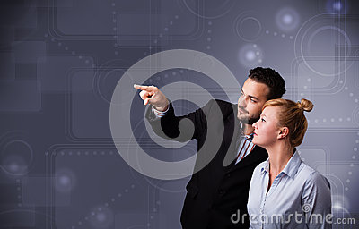 Young couple touching copy space