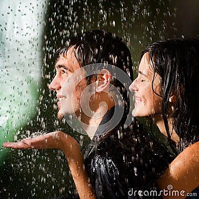 Free Young Couple Under A Rain Stock Photos - 3224033
