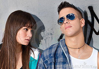 Young couple urban fashion close-up portrait