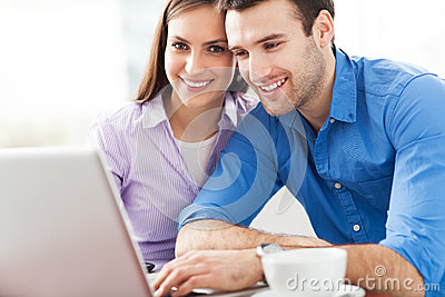 Young people with laptop