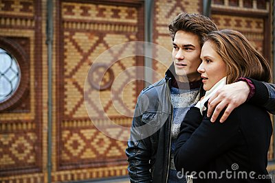Young couple waiting for a train