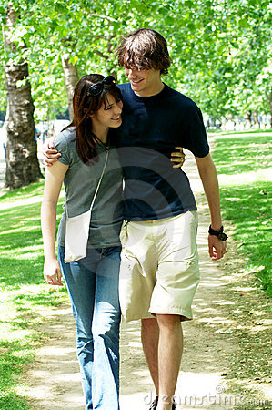Free Young Couple Walking In Park Stock Photo - 5639090
