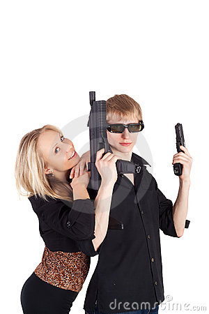 Young couple with the weapon