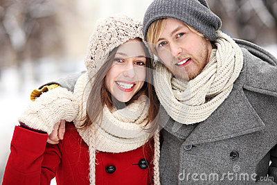 Young couple on winter day
