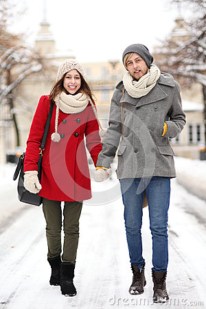 Young couple in winter setting