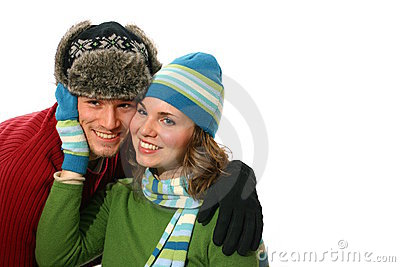 Young couple in winter wear