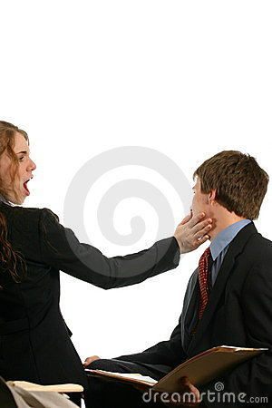 Young Couple at Work fighting