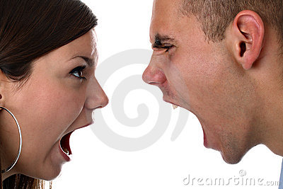 Young couple yells at each other isolated on white