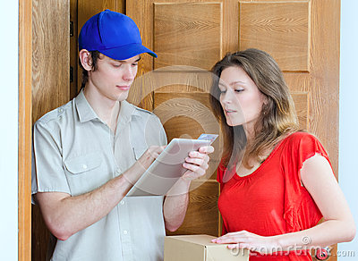 Young courier deliver package