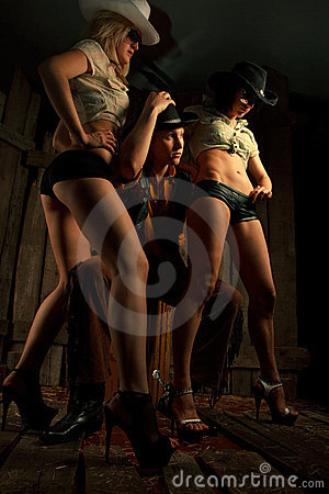 Young cowboy with girls