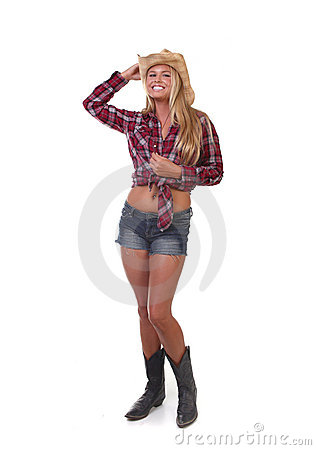 Young Cowgirl on White Background