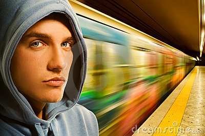 Young criminal in subway