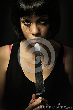 Free Young Crying Woman Killer. Knife Murder Suicide. Crazy Girl Royalty Free Stock Images - 66105179