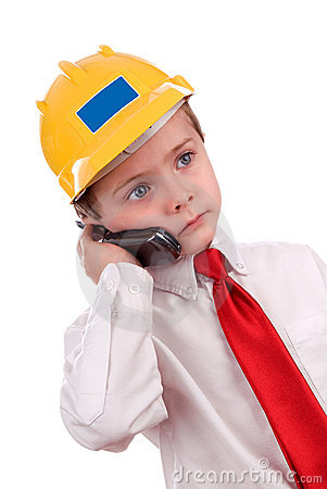 Free Young Cute Contractor Boy On Cell Stock Photo - 2031910