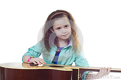 Young girl and guitar