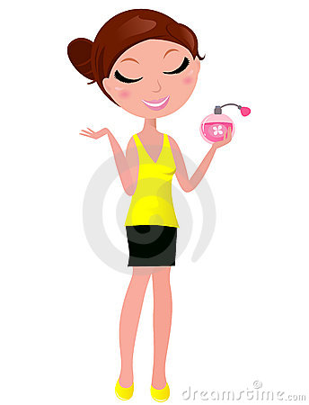 Young cute woman with perfume fragrance