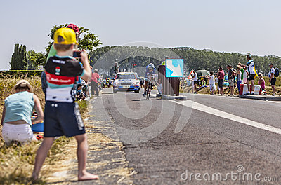 Young Cycling Fan Editorial Photo