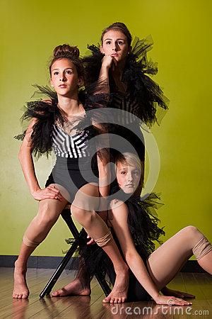 Young dancers in ballet costumes