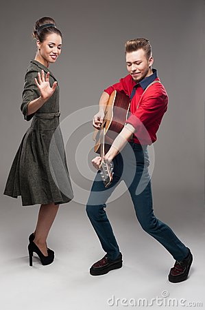 Young dancing retro couple