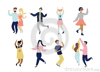 Young dancing tiny stylish people set. Vector Illustration