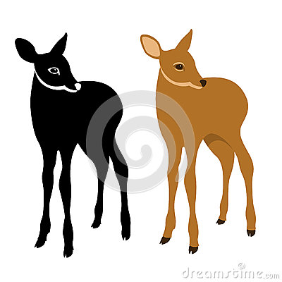 Young deer vector illustration style Flat Vector Illustration