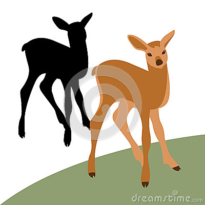 Young deer vector illustration style Flat set silhouette black Vector Illustration