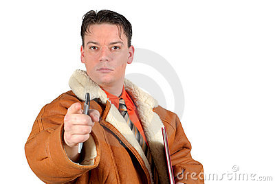 Young determined Businessman pointing at you