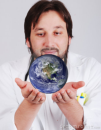 Young doctor with beard is holding earth in hands