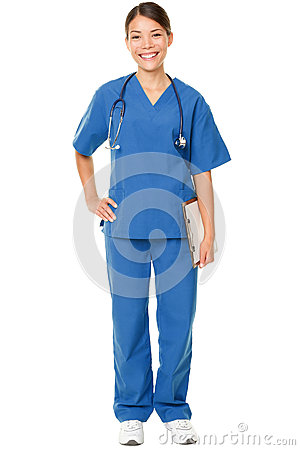 Young doctor in blue scrubs
