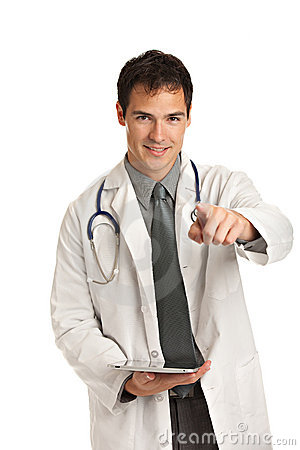 Young Doctor Holding a Touch Pad Tablet PC