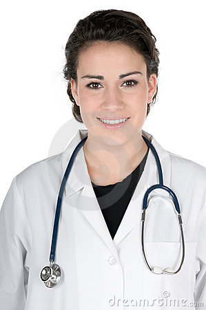Young doctor, lab coat and stethoscope, isolated