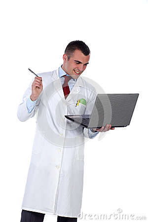 Young doctor and lap top