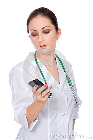 A young doctor with a mobile phone.